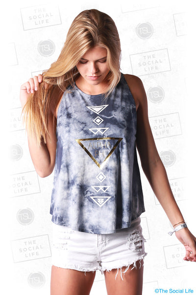 Alpha Phi Marble High Neck Tank