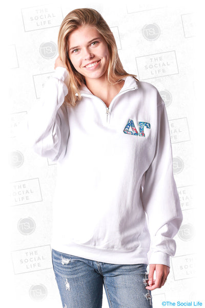 Delta Gamma Letter Quarter Zip Up