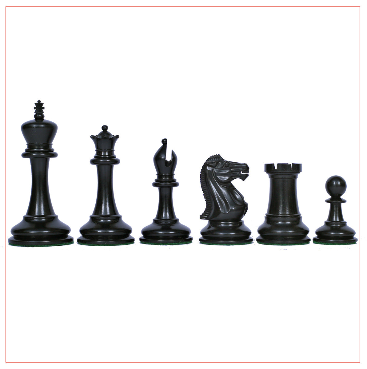 "Championship Series 3.5"" Ebony Wood Staunton Chess Pieces"