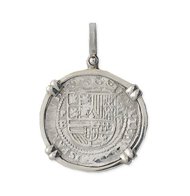 Taffi Fisher Collection 2 Reales  Atocha Re-creation Silver Coin, Double Prong, Shield Side