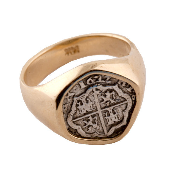 Atocha Re-creation Coin Sterling Silver Ring 14K Gold Mount