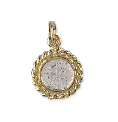 Small Atocha Re-creation Coin Pendant with Rope Bezel