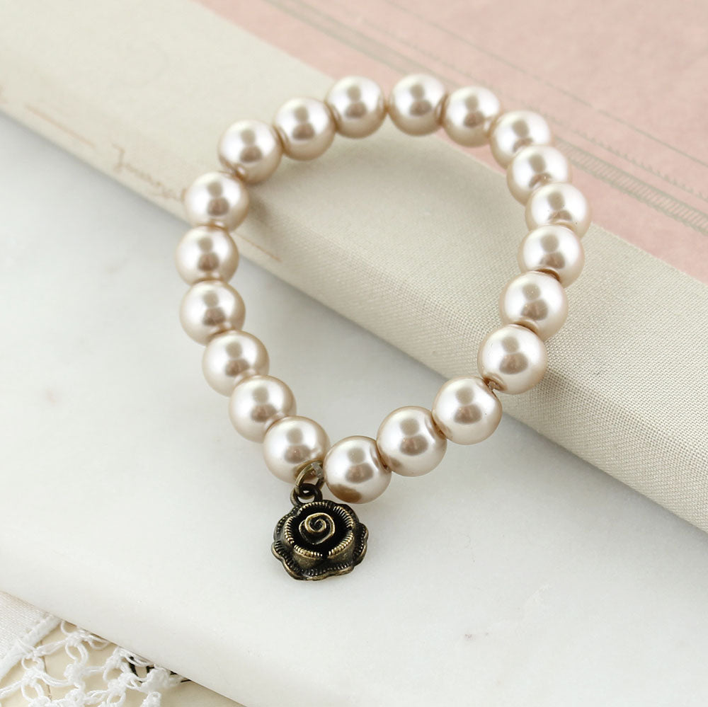 Blush Pearl Stretch Bracelet w/ Rose Charm