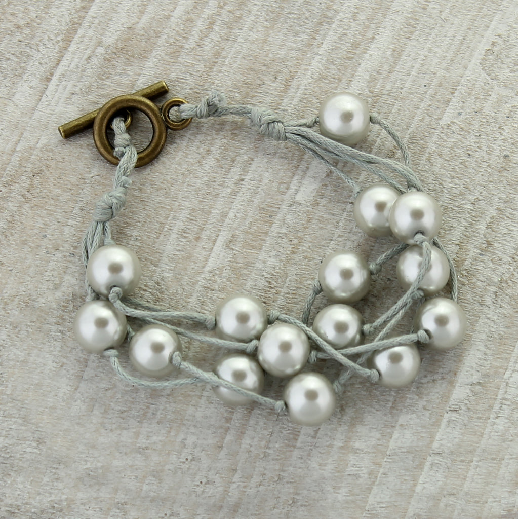 Gray Cord & Gray Pearl Toggle Clasp Bracelet