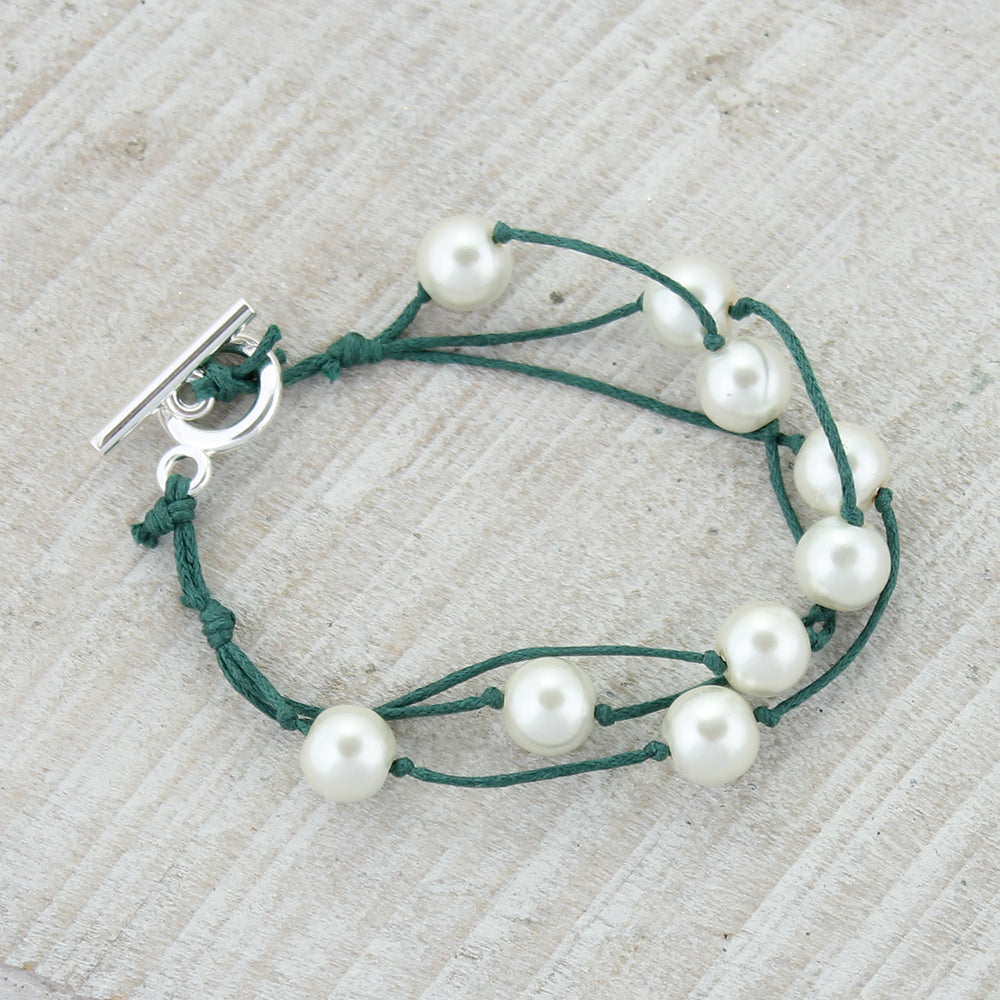 Green Cord & Pearl Toggle Clasp Bracelet