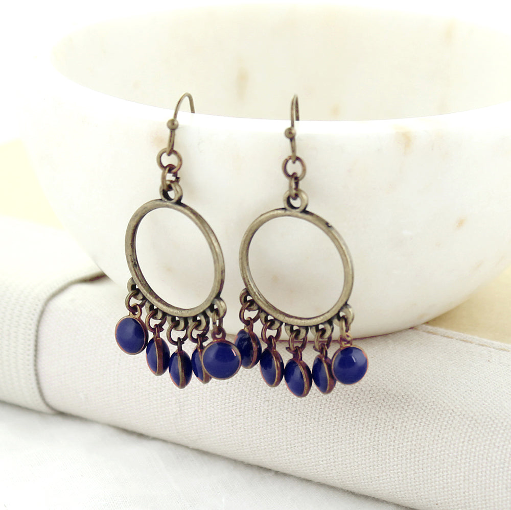 Vintage Enamel Dot Earrings - Navy