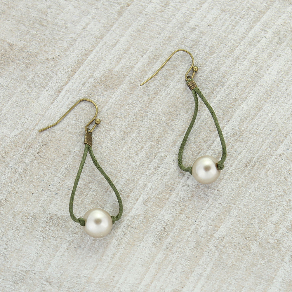 Olive Cord & Champagne Pearl Earrings