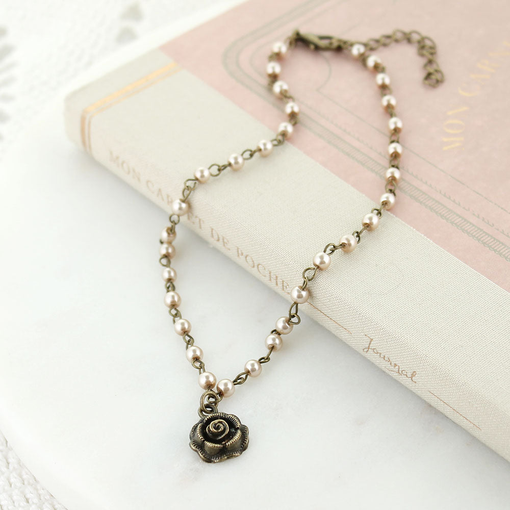 "16-18"" Blush Pearl Chain Necklace w/ Rose Charm"