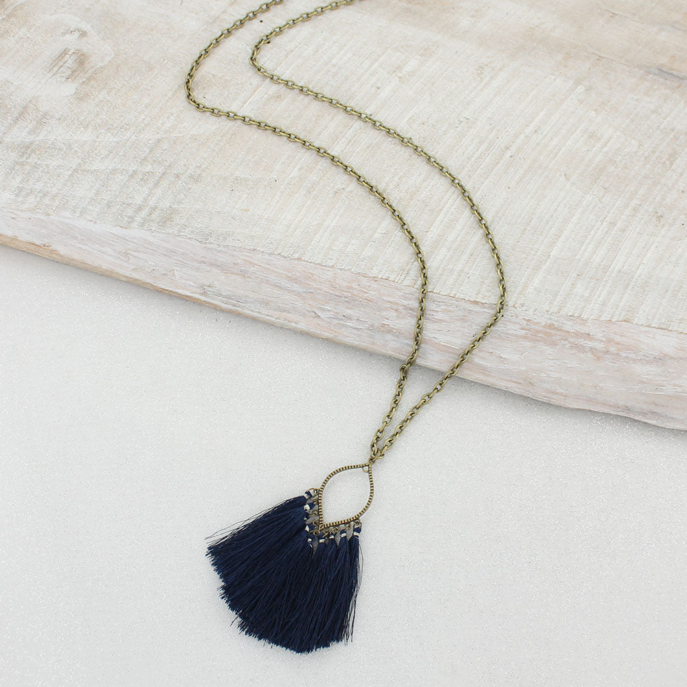 Navy Fringe Tassel Necklace