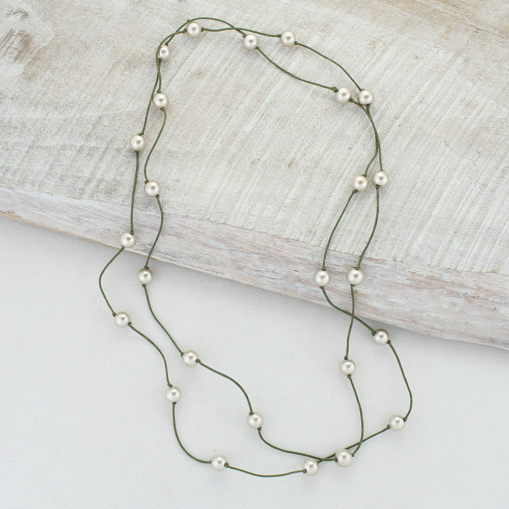 "Olive Cord & Champagne Pearl 60"" Necklace"