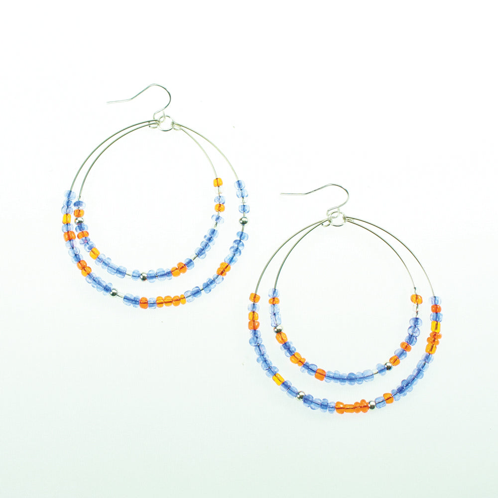 Blue & Orange Beaded Hoop Earrings