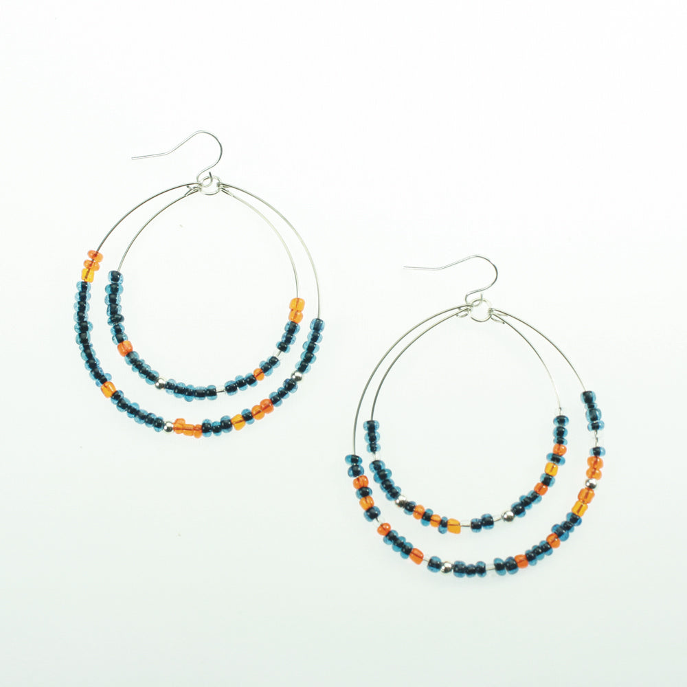 Navy & Orange Beaded Hoop Earrings