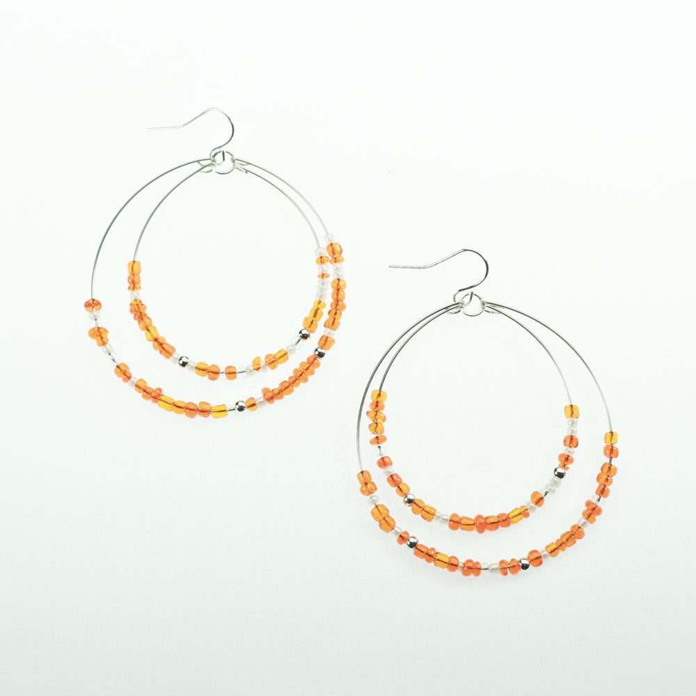 Orange & White Beaded Hoop Earrings