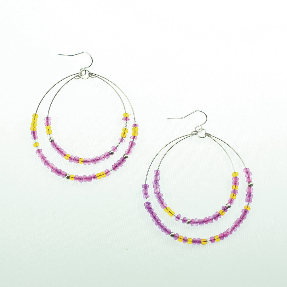 Purple & Orange Beaded Hoop Earrings