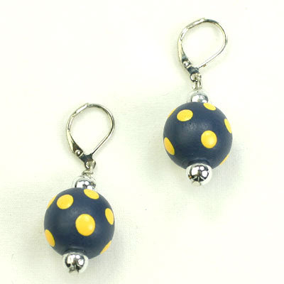 Navy & Yellow Polka Dot Wood Bead Earrings