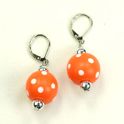 Orange & White Polka Dot Wood Bead Earrings