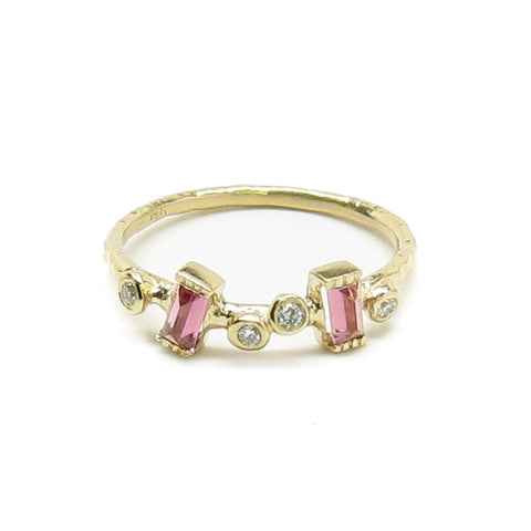 Pink Tourmaline White Diamond Garden Ring