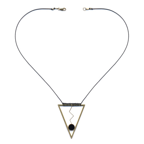 Brass Triangle Zig Zag Necklace