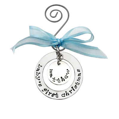 Just Becuzz Baby's First Christmas Hand Stamped Christmas Ornament