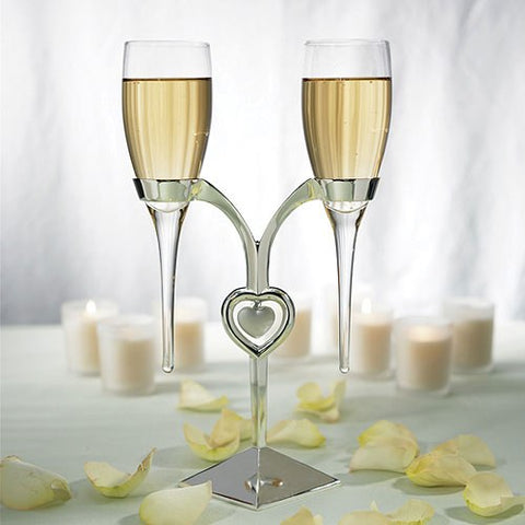 Personalized Glass Flutes With Silver Stand Wedding Champagne Glasses