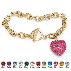 Crystal Heart Charm Birthstone Toggle Bracelet