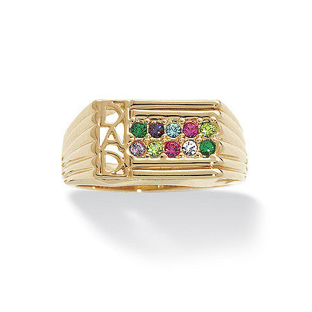 "Men's Birthstone ""Dad"" Family Ring - 14kt Gold-Plated"