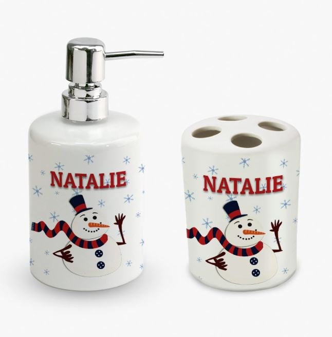 Personalized Christmas Snowman Soap Dispenser and Toothbrush Holder