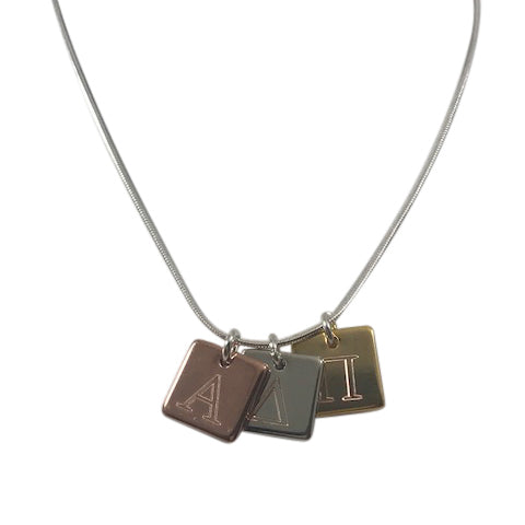 Alpha Delta Pi Engraved Tri-Color Square Charm Necklace