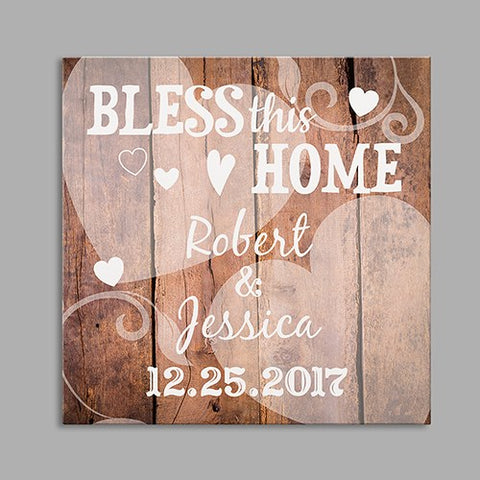 Personalized Bless This Home Wedding Square Canvas