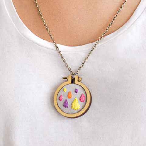 Mini Embroidery Hoop Pendant Kit with Necklace (4cm hoop frame set)