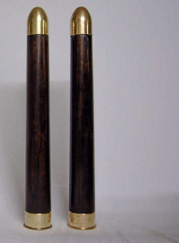A Pair of Mid-Century Brass & Fruitwood Military Practice Artillery Shells