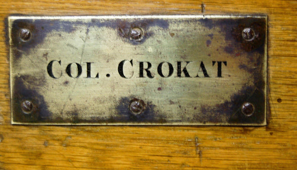 A Napoleon related Oak & Iron Bound Campaign Silver Chest with Brass Plaque to Colonel Crokat