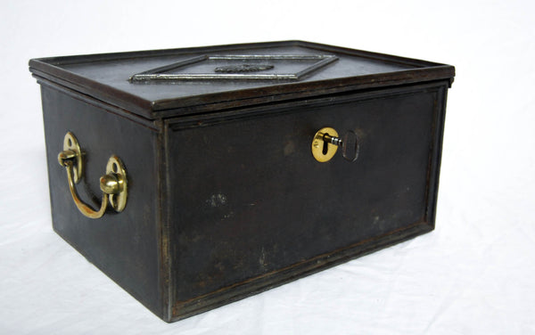 Regency Period Cast Iron Strong Box or Safe with Lock & Key