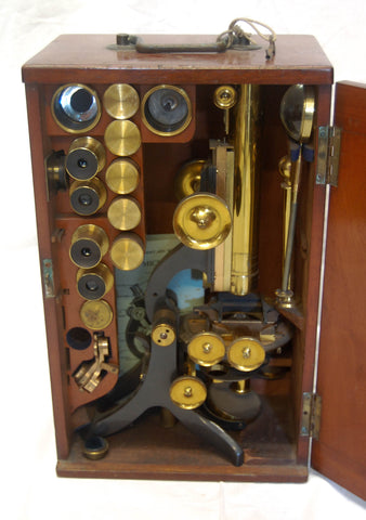 Victorian Cased Challenge Model Microscope by Swift & Son, 81 Tottenham Court Road, London