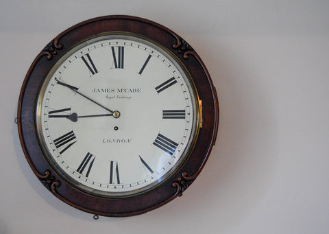 Early Victorian Drumhead Dial Wall Clock by James McCabe, Royal Exchange, London