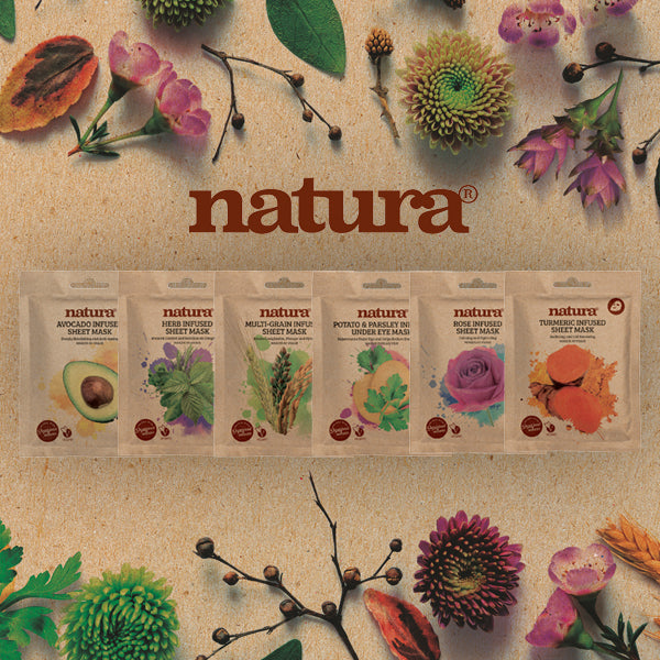 Now available  - natura, our new range of Vegan friendly sheet masks