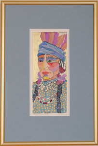 Framed Watercolor Native American Portrait by Linda Lucy Lunde