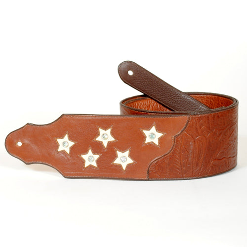 Handcrafted Embossed Guitar Strap with Stars and Crystals GS106