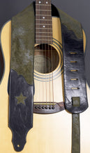 Load image into Gallery viewer, Handmade Leather Guitar Strap in Olive Green GS114