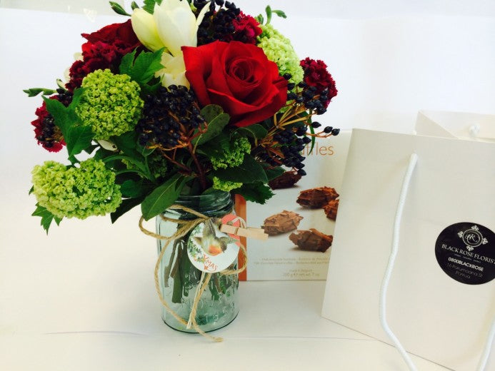 Red posy , Mason jar & chocolates