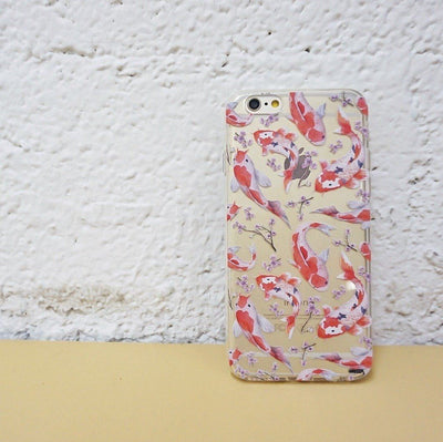 Watercolor Koi Fish - Clear TPU Case Cover - Milkyway Cases -  iPhone - Samsung - Clear Cut Silicone Phone Case Cover