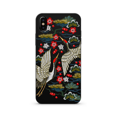 Black Wood Printed - Japanese Cranes - Milkyway Cases -  iPhone - Samsung - Clear Cut Silicone Phone Case Cover