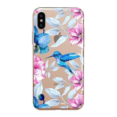 Colored Vintage Hummingbird - iPhone XS Case Clear