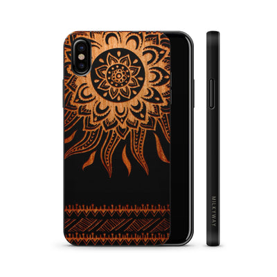 Wood  - Sun Aztec - Milkyway Cases -  iPhone - Samsung - Clear Cute Silicone Phone Case Cover