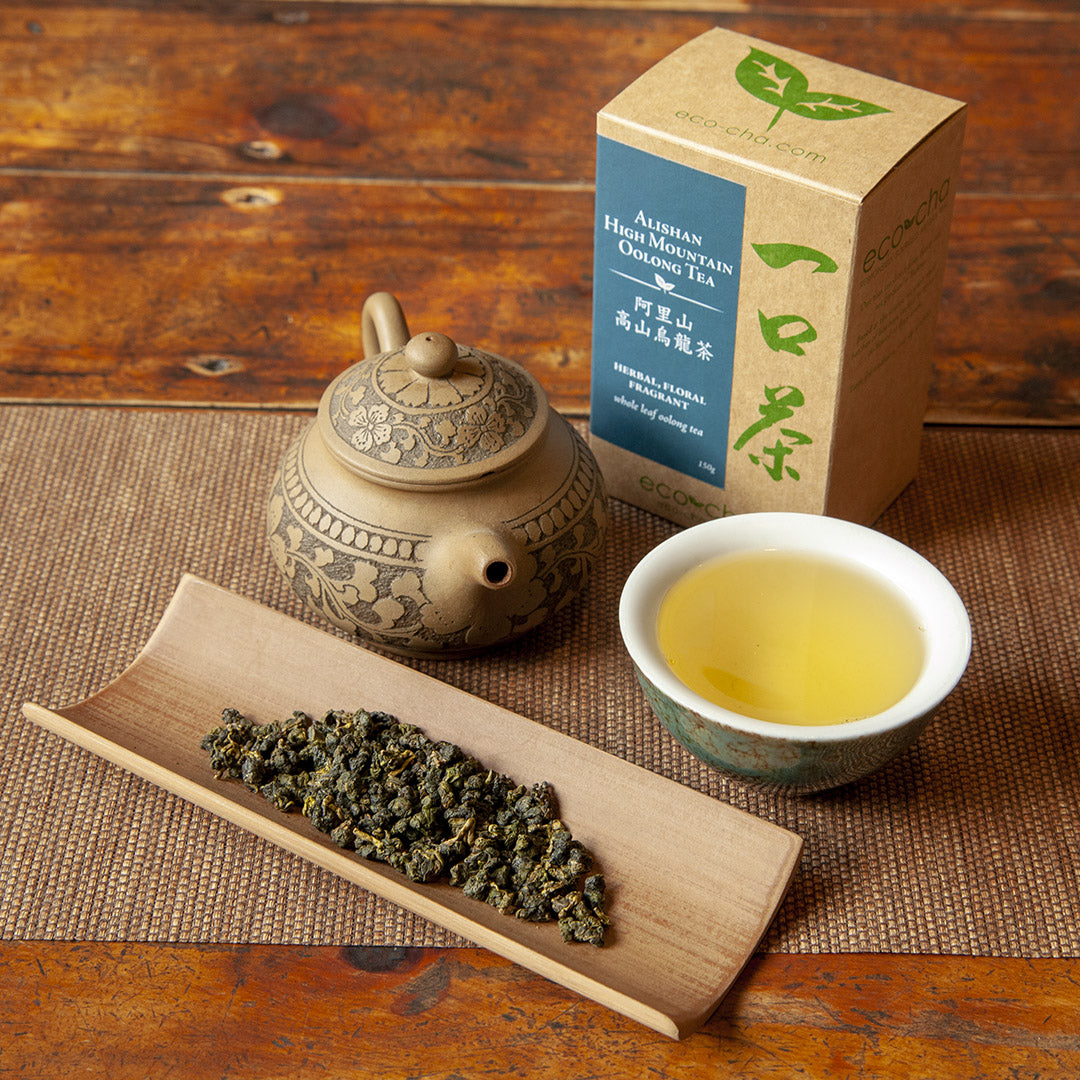 Eco-Cha Alishan High Mountain Oolong Tea and teapot