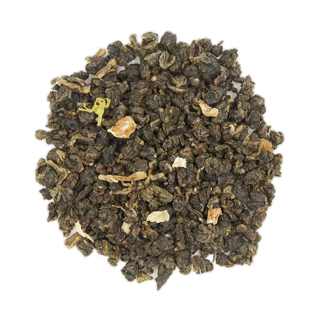 Jasmine Flower Oolong Tea, dry leaves top view
