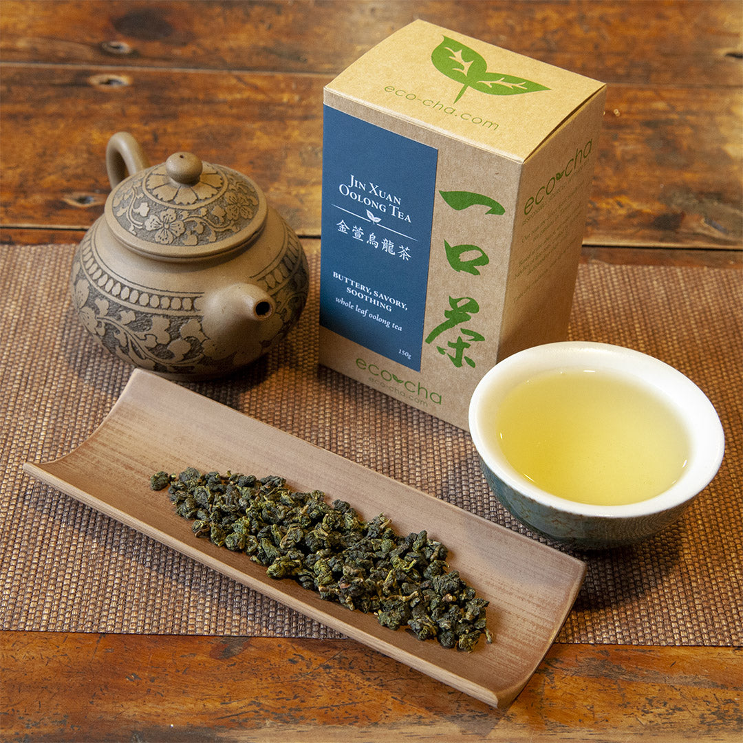 Jin Xuan Oolong Tea in teacup on wooden table next to dry tea leaves and old teapot and box