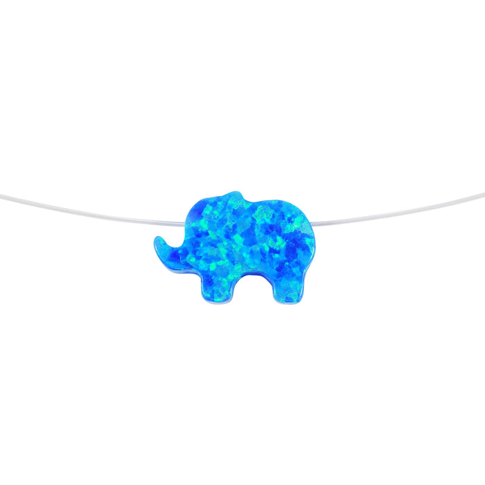 blue opal elephant invisible necklace - Martinuzzi Accessories