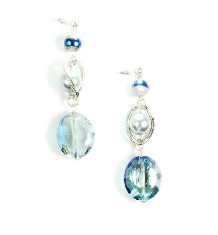 Blue Glass Beads Earrings with Pearls Silver Tone