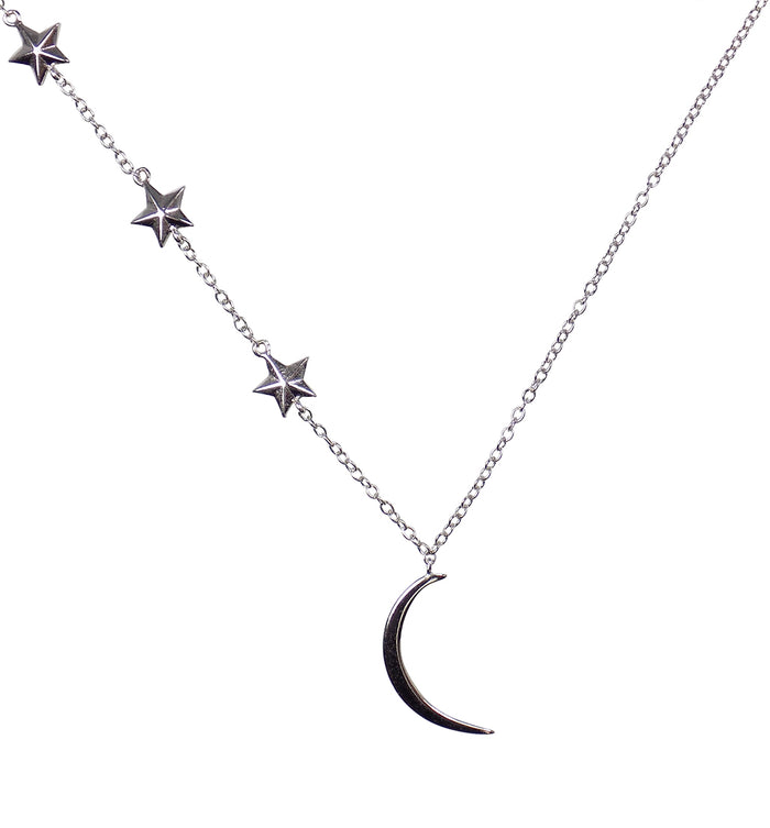 Half Moon and Stars Necklace Sterling Silver Choker